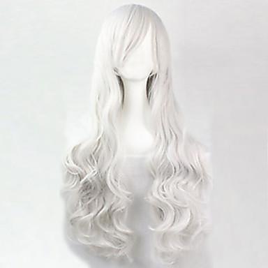 Syntetiska peruker Lockigt Löst vågigt Naturligt vågigt Naturligt vågigt Lockigt Peruk Lång Vit Syntetiskt hår 25 tum Dam Vit