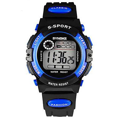 levne Pánské-SYNOKE Dětské Náramkové hodinky Digitální LCD Kalendář Chronograf Voděodolné poplach Svítící Pryž Kapela Černá