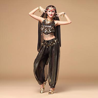cheap Dancewear & Dance Shoes-Belly Dance Outfits Women's Performance Chiffon Sequin Sleeveless Top / Pants / Headwear