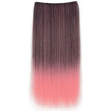 levne Syntetické příčesky-Rozšíření lidský vlas Volný Klasický Umělé vlasy Příčesky z pravých vlasů Dámské Černá / kaštanová hnědá