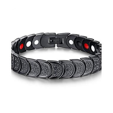 Herr Kedje & Länk Armband initiala Rostfritt stål Armband Smycken Svart Till Dagligen Casual