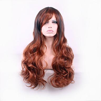 Syntetiska peruker Lockigt Stora vågor Stora vågor Asymmetrisk frisyr Peruk Lång Brun Syntetiskt hår Dam Naturlig hårlinje Brun