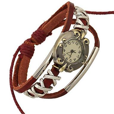 levne Pánské-Dámské Módní hodinky Náramkové hodinky Digitální Kůže Červená Analogové Cikánské - Červená