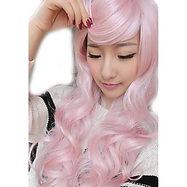 Syntetiska peruker Vågigt Vågigt Peruk Rosa Rosa Syntetiskt hår Dam Rosa