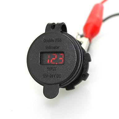 iztoss billaddare nätaggregat med voltmeter vattentät dual usb port
