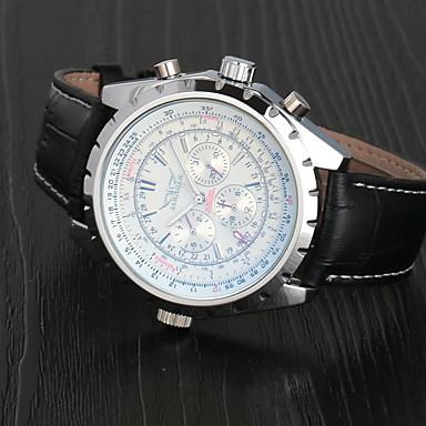 olcso Ékszerek&Karórák-Jaragar Férfi Karóra mechanikus Watch Aviation Watch Automatikus önfelhúzós Háromszemű hat tű Luxus Naptár Bőr Fekete Analóg - Fehér Sötétkék / Rozsdamentes acél