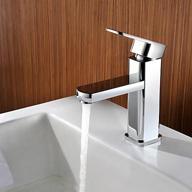modern däck monterad keramisk ventil singelhandtag ett hål krom, badrum handfat kranen bad kranar