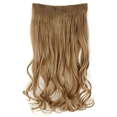 cheap Synthetic Extensions-Human Hair Extensions Wavy Classic Synthetic Hair Human Hair Extensions Women's Platinum Blonde