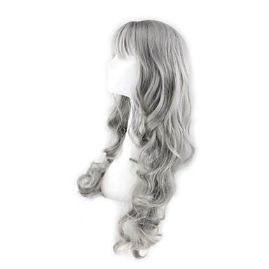 Syntetiska peruker Kroppsvågor Kroppsvågor Med lugg Peruk Grå Syntetiskt hår Dam Grå