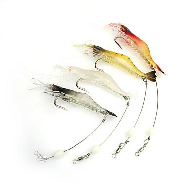 3 pcs Fiskbete Mjukt bete Självlysande Sjunker Bass Forell Gädda Sjöfiske Spinnfiske Jiggfiske Mjuk plast Silikon / Färskvatten Fiske / Abborr-fiske / Drag-fiske