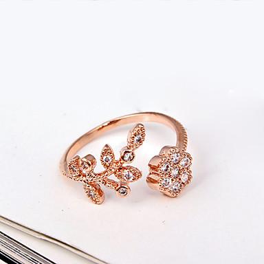 billige Fuskediamant-Dame Band Ring vikle ring tommelfingerring Sølv Gylden Strass Fuskediamant Legering damer Luksus Mote Fest Daglig Smykker Blomst Søtt Justerbar