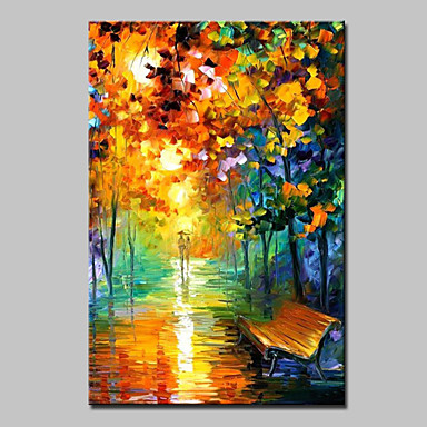 povoljno Ulja na platnu-Hang oslikana uljanim bojama Ručno oslikana - Apstraktni pejsaži Moderna With Frame