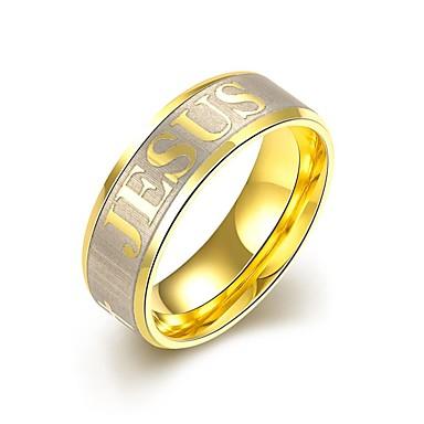 levne Dámské šperky-Pánské Band Ring Vyzvánění Prsten Zlatá Zlaté Titanová ocel dámy Přizpůsobeno Střapec Svatební Párty Šperky Monogramy Roztomilý Nastavitelný Rozkošný / Zásnubní prsten