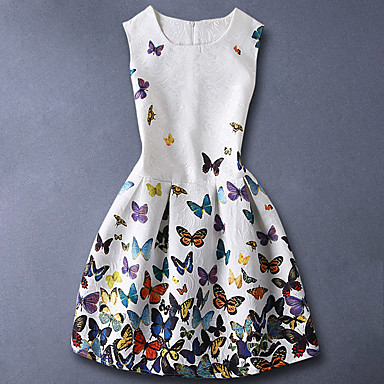cheap Kids Collection Under $8.99-Kids Girls' Basic Sweet Daily Butterfly Floral Print Sleeveless Dress White