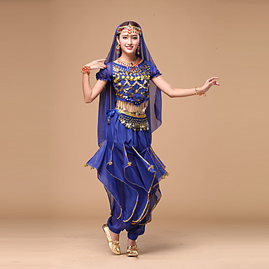 374beec8a8ef Belly Dance Outfits Women s Performance Chiffon Sequin Short Sleeves ...