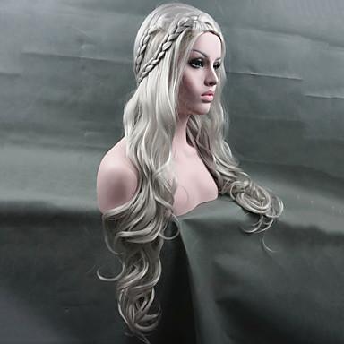 billige Kostymeparykk-Syntetiske parykker Kostymeparykker Bølget Kardashian Stil Pixiefrisyre Parykk Bleik Blond Hvit Sølv Syntetisk hår Dame Parykk med fletter Hvit Parykk Lang StrongBeauty