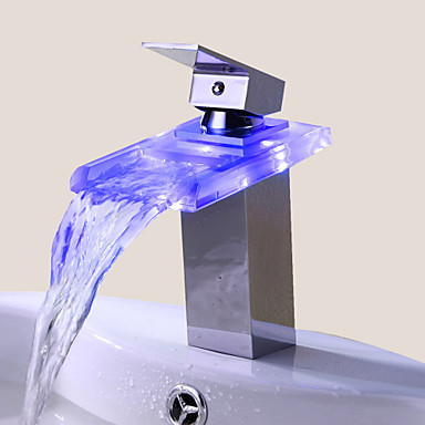 Bathroom Sink Faucet Single Handle Faucet Color Changing LED  Waterfall(Chrome Finish) 63863 2017 U2013 $59.99