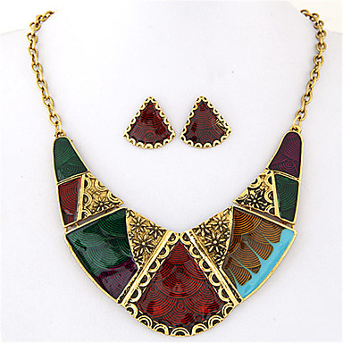 cheap Jewelry Sets-Women's Jewelry Set Stud Earrings Necklace / Earrings Geometrical Artisan Statement Ladies Vintage European Fashion Color Block Earrings Jewelry Rainbow For Party Daily Casual