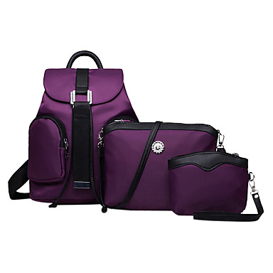 6a1bbaf75661 Women s Bags Nylon School Bag   Travel Bag   Backpack 3 Pcs Purse Set Solid  Colored Purple   Fuchsia   Blue   Bag Set 4523047 2019 –  16.14