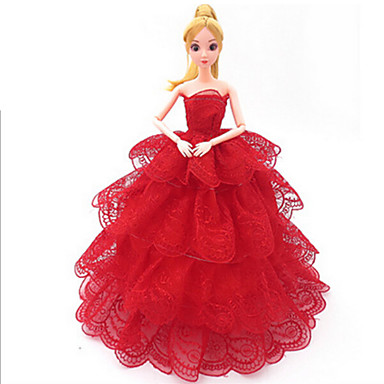 Dockkläder Kostym Kjol Bröllopsklänning Plast Mode Småbarn Flickor Leksaker Present
