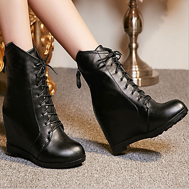 25a8b360fa2 Leather Summer   Winter Combat Boots Boots Wedge Heel Booties   Ankle Boots  Black   Red 5072710 2019 –  49.99