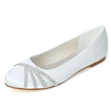 Γυναικεία Γαμήλια παπούτσια Επίπεδο Τακούνι Στρογγυλή Μύτη Τεχνητό διαμάντι Σατέν Μπαλαρίνα Άνοιξη / Καλοκαίρι Ροζ / Ανοικτό Καφέ / Κρύσταλλο / Γάμου / Πάρτι & Βραδινή Έξοδος