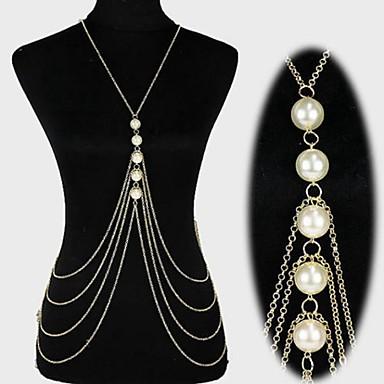 levne Dámské šperky-Dámské Tělové ozdoby Kovový pás / Tělo Chain / Belly Chain / Harness náhrdelník Perla Zlatá / Stříbrná Prohlášení / Střapec / Evropský Perly / Napodobenina perel / Pozlacené Kostýmní šperky Pro