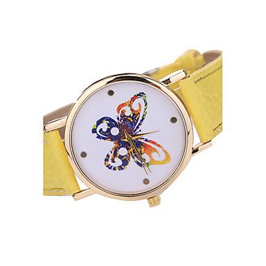 levne Dámské-Dámské Náramkové hodinky Křemenný Japonské Quartz Kůže Černá / Bílá / Hnědá Hodinky na běžné nošení Analogové dámy Na běžné nošení Motýl Módní - Zelená Modrá Růžová