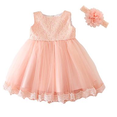 povoljno Odjeća za bebe-Dijete Djevojčice Mašna / Svečana odjeća Party Jednobojni Kratkih rukava Haljina Pink