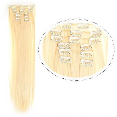 voordelige Synthetische extensions-Synthetisch haar 55.9 cm Haarextensies Clip-in Klem In / Op Dames Dagelijks