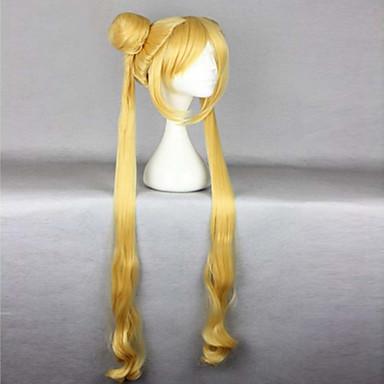 billige Kostymeparykk-Syntetiske parykker Kostymeparykker Bølget Stil Med lugg Med hestehale Parykk Blond Veldig lang Blond Syntetisk hår Sailor Moon Sailor Moon 24 tommers Dame Varme resistent Blond Parykk
