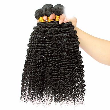 povoljno Ekstenzije od ljudske kose-3 paketa Mongolska kosa afro Klasika Kovrčavog tkanja Virgin kosa Ljudske kose plete Isprepliće ljudske kose Proširenja ljudske kose / 10A / Kinky Curly