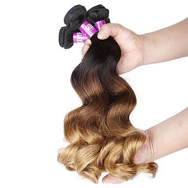 preiswerte 3-Ton Haarverlängerungen-4 Bündel Brasilianisches Haar Lose gewellt Unbehandeltes Haar Ombre 12-24 Zoll Menschliches Haar Webarten Haarverlängerungen / 10A