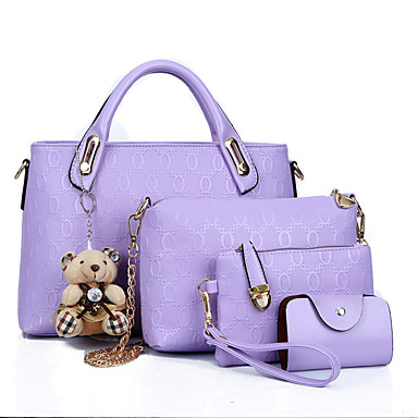 cheap Shoes & Bags-Women's Bags PU Leather Tote / Cover 4 Pieces Purse Set for Shopping / Formal / Office & Career Light Brown / Black / Purple / Bag Sets