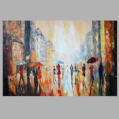93 83 Abstract Figure Painting Walking People On Street Art Work Framed Dark Blue Color 60x90cm