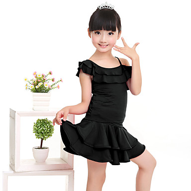 8351b513e Latin Dance Outfits Performance Milk Fiber Ruffles Short Sleeves ...