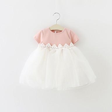povoljno Odjeća za bebe-Dijete Djevojčice Mašna / Svečana odjeća Party Color block Kratkih rukava Pamuk Haljina Pink / Dijete koje je tek prohodalo