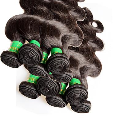 povoljno Ekstenzije od ljudske kose-potka Proširenja ljudske kose Tijelo Wave Ljudske kose plete Virgin kosa Ljudska kosa Indijska kosa 10-28 inch Žene - Crna / 10A