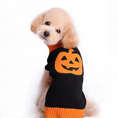 cheap Dog Clothes-Cat Dog Halloween Costumes Sweater Pumpkin Halloween Winter Dog Clothes Black Costume Large Dog Cotton XXS XS S M L XL