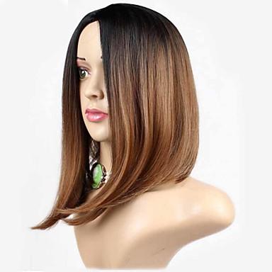 preiswerte Perückenparty-Synthetische Perücken Glatt Gerade Perücke Mittlerer Länge Braun Synthetische Haare Damen Dunkler Haaransatz Natürlicher Haaransatz Braun