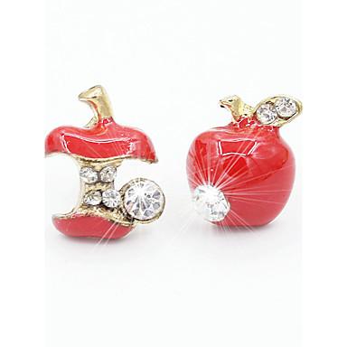 povoljno Modne naušnice-Žene Sitne naušnice Apple jeftino dame Moda Slatka Style Umjetno drago kamenje Naušnice Jewelry Crvena / Zelen Za Dnevno Kauzalni Ured i karijera