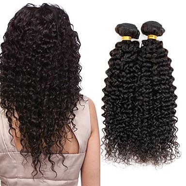 povoljno Ekstenzije od ljudske kose-4 paketića Indijska kosa Kovrčav Kinky Curly Virgin kosa Ljudske kose plete 8-26 inch Isprepliće ljudske kose Rasprodaja Proširenja ljudske kose / 10A