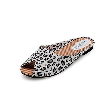 preiswerte Damenschuhe-Damen Flat Heel Sandalen Flacher Absatz Ausgehöhlt PU Komfort Frühling / Sommer Schwarz / Golden / Leopard / EU39