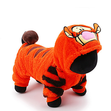 cheap Dog Clothes-Cat Dog Costume Jumpsuit Cartoon Tiger Cosplay Holiday Winter Dog Clothes Yellow Blue Pink Costume Plush Fabric XXS XS S M L