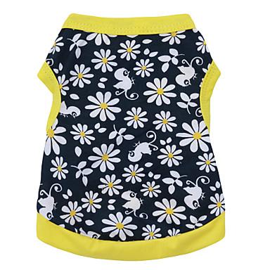 Katt Hund T-shirt Hundkläder Andningsfunktion Svart / Gul Kostym Cotton Blommig Botanisk Mode XS S M L