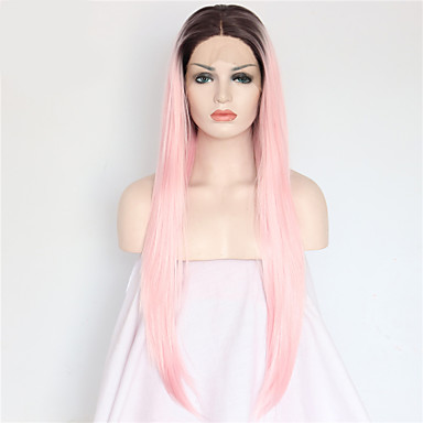 Synthetic Lace Front Wig Straight Pink Synthetic Hair Ombre Hair / Dark Roots / Natural Hairline Pink Wig Women's Long Lace Front