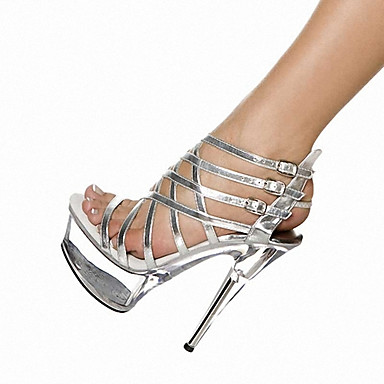 cheap Lucite Heels-Women's Sandals Cross-Strap Sandals Stiletto Heel / Platform Buckle Leatherette Gladiator / Light Up Shoes / Club Shoes Spring / Summer / Fall Black / Silver / Wedding / Party & Evening
