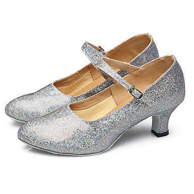 ieftine Pantofi Dans Clasic & Modern-Pentru femei Pantofi Dans Latin / Pantofi Dans Sclipici Spumant / Paillertte / Sintetic Buclă Sandale / Călcâi / Adidași Sclipici Strălucitor / Pliuri / Paiete Toc Cubanez Pantofi de dans Auriu