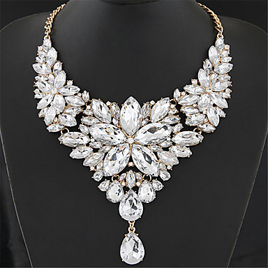 cheap Statement Necklaces-Women's Crystal Statement Necklace Bib Chunky Ladies Elegant Baroque Alloy Rainbow White Red Rose Gray 40+5 cm Necklace Jewelry 1pc For Wedding Party Anniversary Masquerade Engagement Party Prom