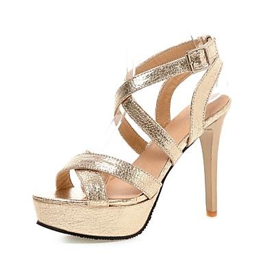 női cipő pu   nyári platform szandál iroda  karrier   alkalmi tűsarkú csat  fekete   ezüst 8f9f99aae3